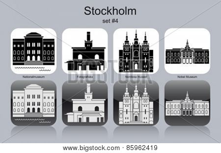 Landmarks of Stockholm. Set of monochrome icons. Editable vector illustration.