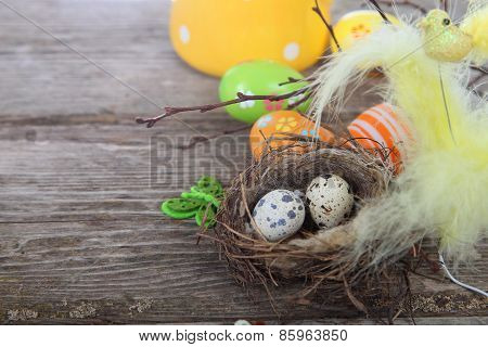 Easter Still Life With Eggs In The Nest