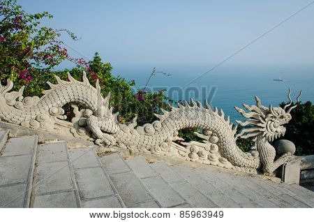 Stone dragons at the Linh Ung Pagoda in Da Nang, Vietnam