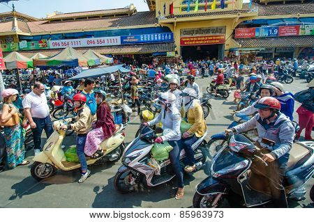 Motorcycles are the main mode of transportation in this Saigon.