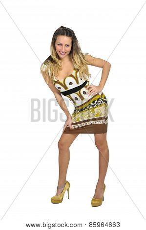 Sexy Attractive Woman With Blond Hair In Short Trendy Dress in female fashion concept