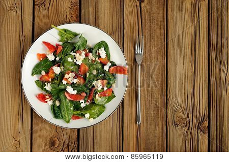 Spinach And Blood Oranges Salad With Cottage Cheese And Peanuts On Wooden Background