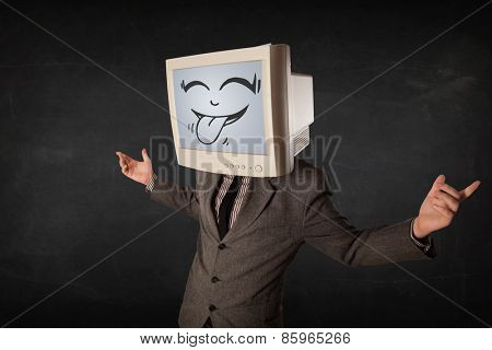 Happy business man with a computer monitor screen and a cartoon face