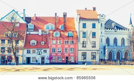 Colorful buildings in Riga old centre