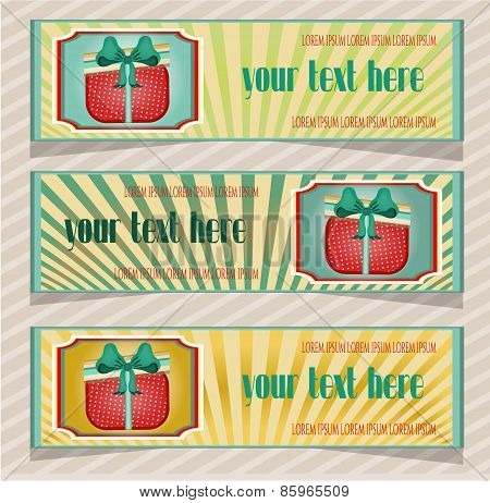 Set, collection of three, blue, yellow, retro banners  with dotted present with bow