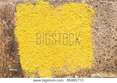 Creative Beautiful Brown Background Cracks And Scratches On The Concrete Square Of Yellow Paint, Wit