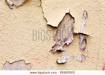 Creative Background Concrete Wall With Cracks And Scratches Painted Yellow Paint, Needs Urgent Repai