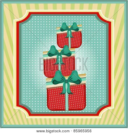 Striped card with dotted, red gifts with blue bow, retro design