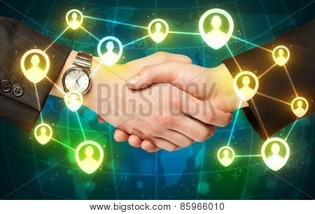 Business handshake, social netwok concept