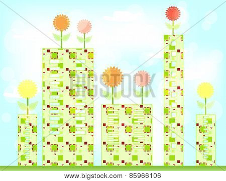 Card with colorful flowers and green buildings with pattern, blue background