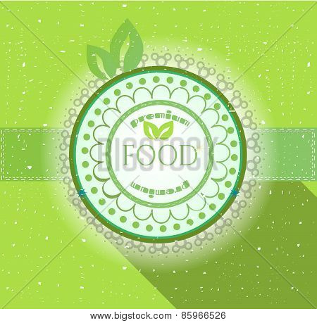 Retro, green, round label with text Premium Food, leaves, lights, green background