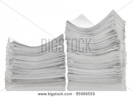 Two stack of papers