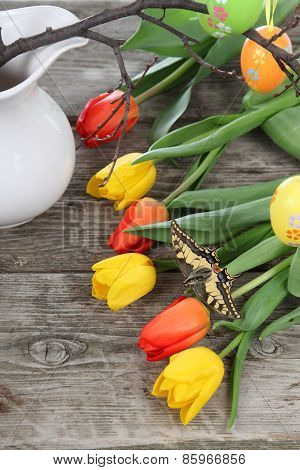 Easter Composition With Tulips