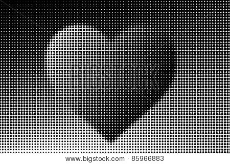 Black And White Halftone With Heart Shape