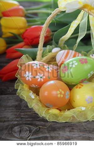 Easter Composition With Tulips And Eggs