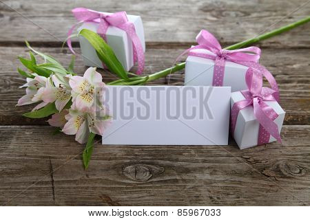 White Alstroemeria, Gifts And Greetings Card