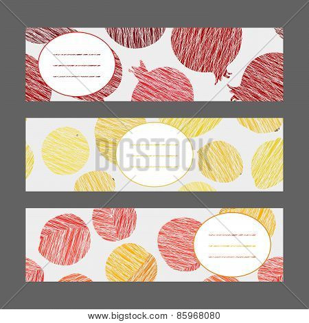 Set of Vertical Fruit Banners. Healthy lifestyle Cards Series.  Illustration.