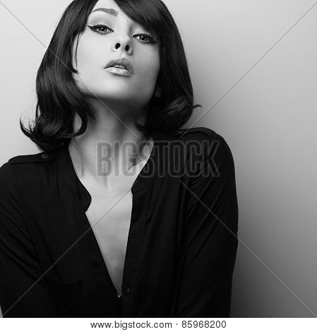Seductive Draceful Female Model With Short Hair. Black And White