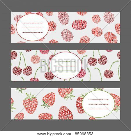 Set of Horizontal Fruit Banners. Harvest berry ornament. Vector Illustration.