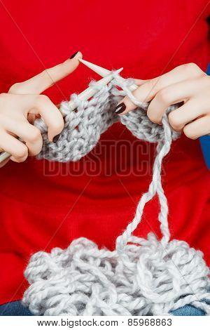 Knitting Of Woolen Yarn.