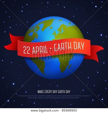 Vector illustration of earth globe with red ribbon and text Earth Day