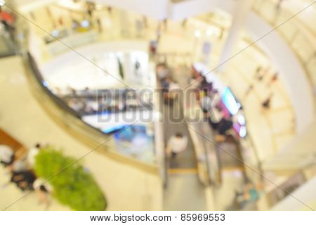 Blur Or Defocus Image Of People Shopping In Department Store Or Shop Plaza