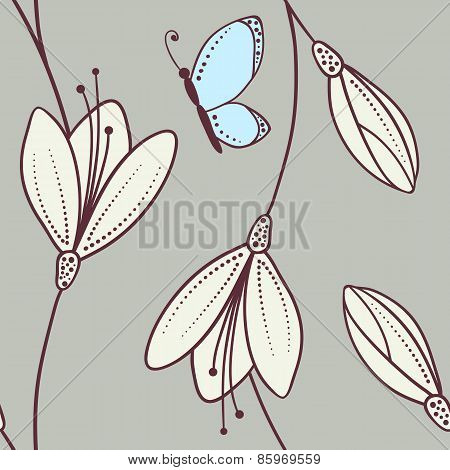 Handdrawn Abstract Floral Seamless Pattern With Butterfly
