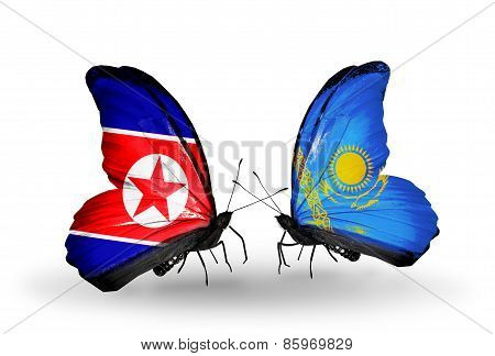Two Butterflies With Flags On Wings As Symbol Of Relations North Korea And  Kazakhstan