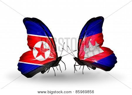 Two Butterflies With Flags On Wings As Symbol Of Relations North Korea And  Cambodia