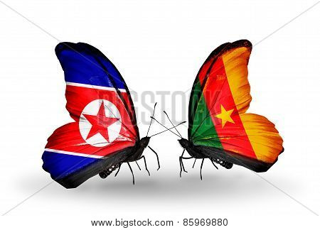 Two Butterflies With Flags On Wings As Symbol Of Relations North Korea And  Cameroon