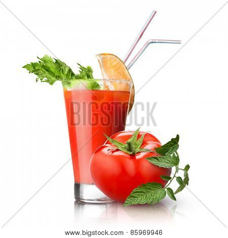 red tomato and glass of juice isolated on white