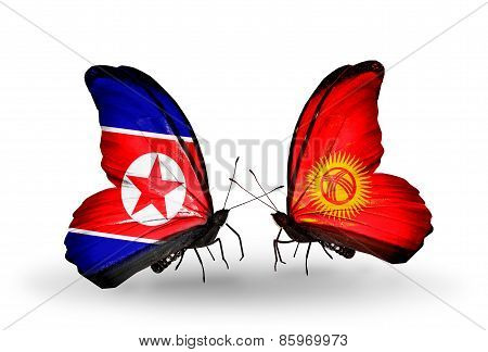 Two Butterflies With Flags On Wings As Symbol Of Relations North Korea And  Kirghiz