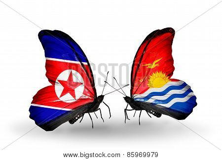 Two Butterflies With Flags On Wings As Symbol Of Relations North Korea And  Kiribati