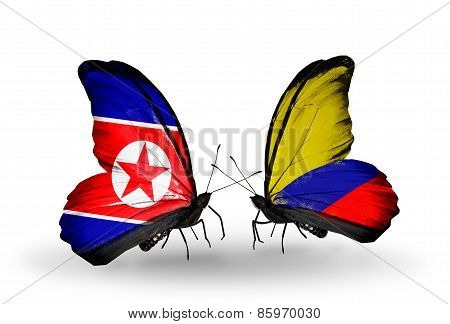 Two Butterflies With Flags On Wings As Symbol Of Relations North Korea And  Columbia