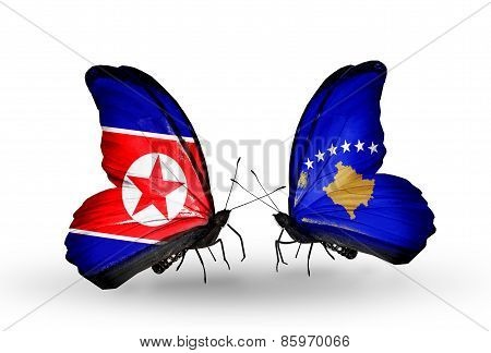 Two Butterflies With Flags On Wings As Symbol Of Relations North Korea And  Kosovo