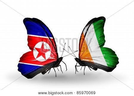 Two Butterflies With Flags On Wings As Symbol Of Relations North Korea And  Cote Divoire