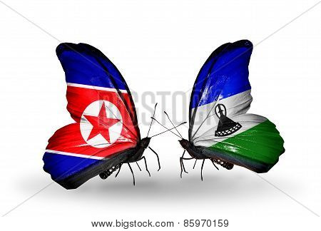 Two Butterflies With Flags On Wings As Symbol Of Relations North Korea And Lesotho