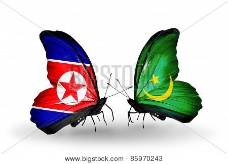 Two Butterflies With Flags On Wings As Symbol Of Relations North Korea And  Mauritania