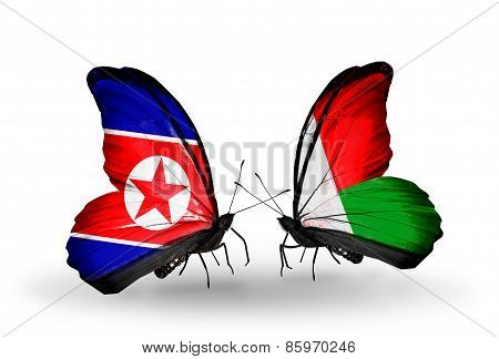 Two Butterflies With Flags On Wings As Symbol Of Relations North Korea And  Madagascar