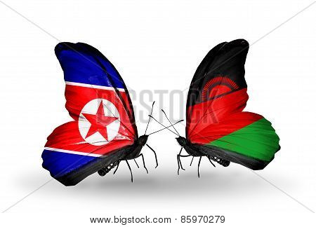 Two Butterflies With Flags On Wings As Symbol Of Relations North Korea And  Malawi