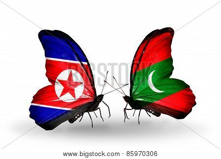 Two Butterflies With Flags On Wings As Symbol Of Relations North Korea And  Maldives