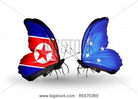 Two Butterflies With Flags On Wings As Symbol Of Relations North Korea And  Micronesia