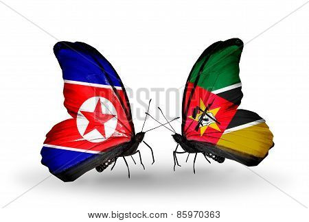 Two Butterflies With Flags On Wings As Symbol Of Relations North Korea And  Mozambique