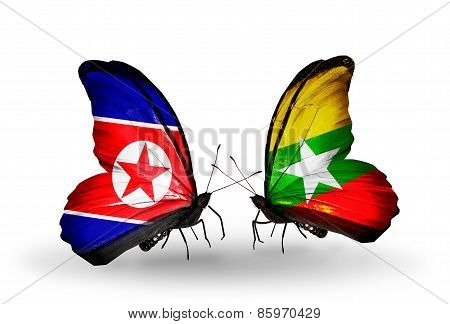 Two Butterflies With Flags On Wings As Symbol Of Relations North Korea And  Myanmar