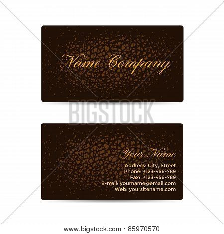 Business Card with Brown Leather Background