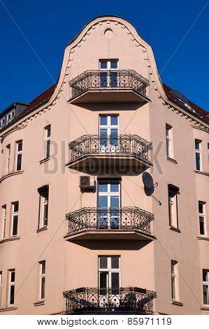 Balconies on the facade of the building