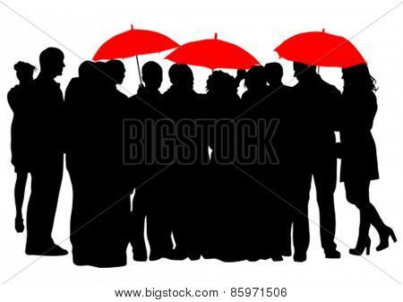 People with an umbrella on a white background