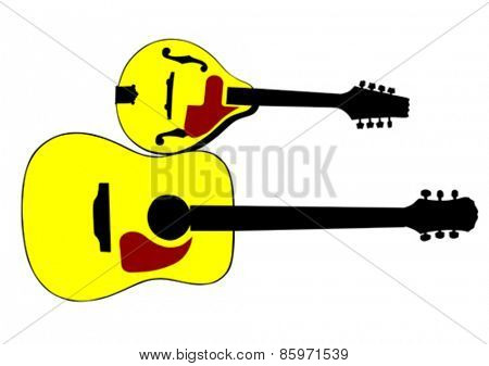Mandolin and guitar in country style on white background