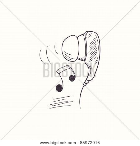 Sketched Earphone With Music Desktop Icon