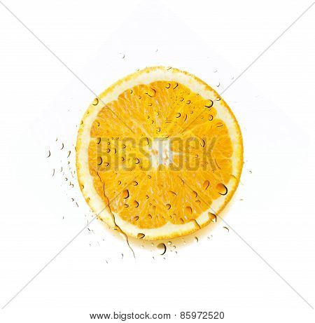 Water Splash over Sliced Orange isolated on white background